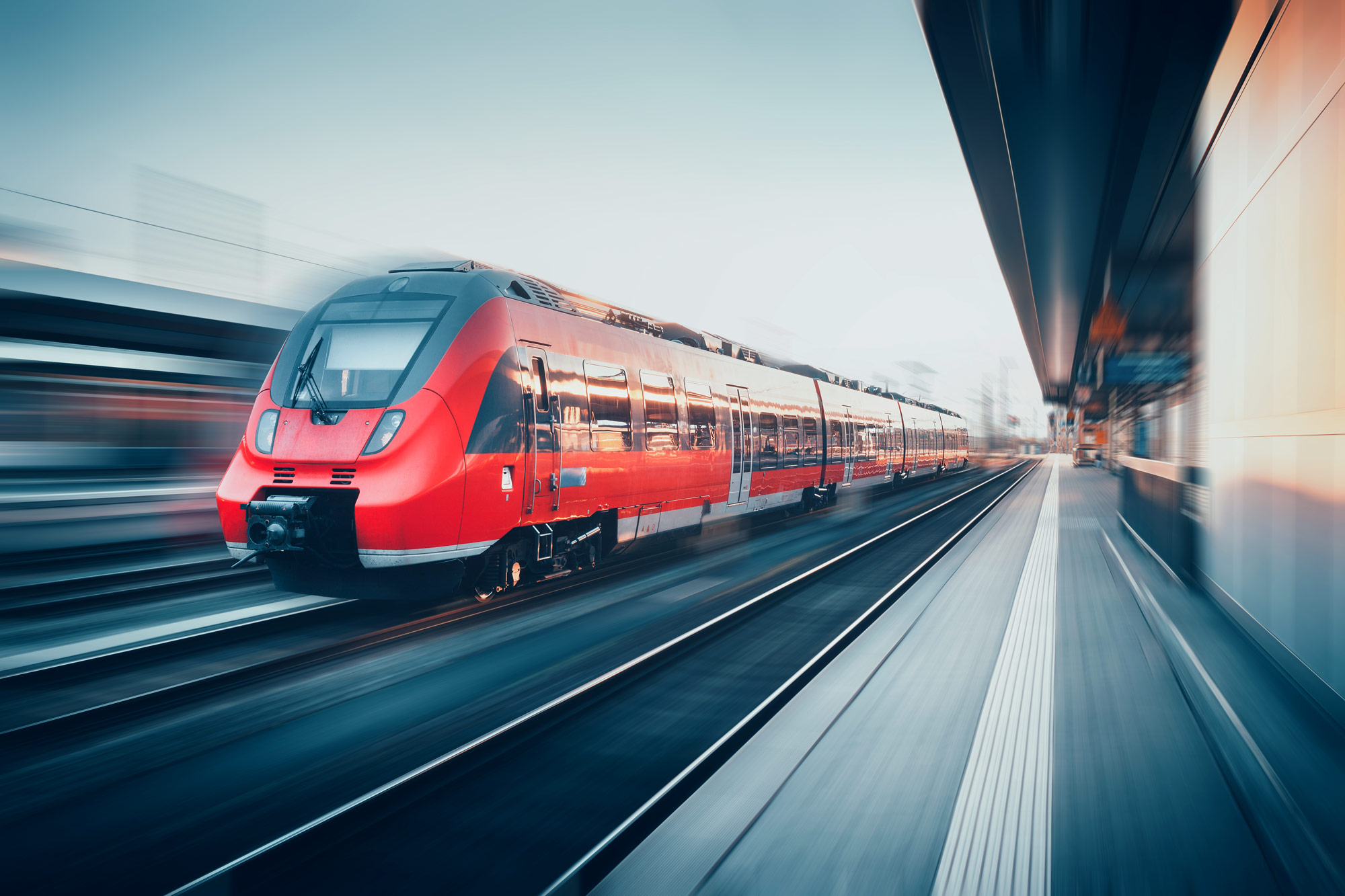 Driving train in red